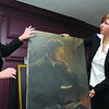 Marblehead:<br /> Deborah Greel, executive director, and Liz Clement display a painting by an unknown artist which was found while searching a closet at the Marblehead Arts Association for hidden forgotten art treasures.<br /> Photo by Ken Yuszkus/Salem News, October 8, 2008.
