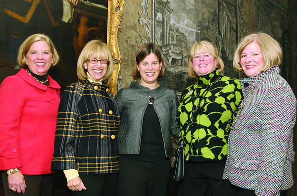 City Desk, Marblehead:Ê Models for the IrresistiblesÊfashion show, from left, Jan Johnston, Myra Gulko, Kelsey Doub, proprietor, Sharon Russell and Betsy Dowling, all are from Marblehead.<br /> They are standing in front of the rare hand painted wall paper at the mansion, one of only two in existence, at the benefit for the Marblehead Museum and Historical Society, Thursday, at the Jeremiah Lee Mansion on Washington Street.  Photo by Frank J. Leone, Jr.
