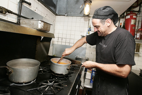 Chef Frank Pellino, owner of Pellino Restaurant in Marblehead, prepares his specialty fall soup Pasta Fagioli. Photo by Deborah Parker/July 28, 2009