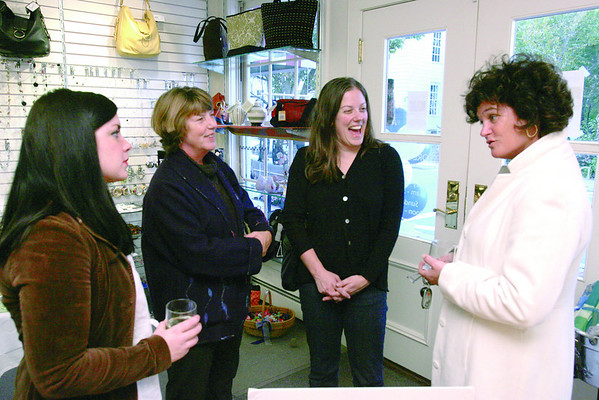 From left, Rhiannon Thackeray from Swampscott, Monique Luijben from Salem, her daughter Saskia Epstein, executive director of the Boston office of Room to Grow, and Elisabeth Steinfeld from Marblehead talk during a wine and cheese reception at DS Designs in Marblehead after a day of fundraising for the organization on Thursday, October 23, 2008. Room to Grow provides parents raising babies in poverty with one-one-one parenting support during the child's first three years.