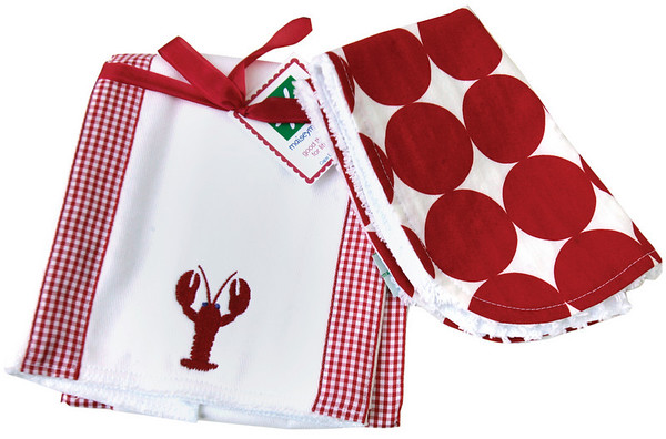 Larry the Lobster bib and burp cloth set.  Sea Gull Gift Shop.