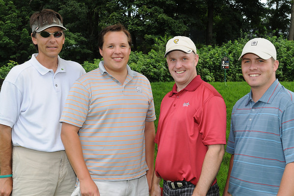 Salem:<br /> From left, David Cogger, Sam Lockard, Mike Deignan, and Keith Rourke, all with MagTek, at the the Fourth Annual Rey Moulton Memorial Golf Tournament, sponsored by the Marblehead Chamber of Commerce at Kernwood Country Club.<br /> Photo by Ken Yuszkus/Salem News, Monday, August 3, 2009.