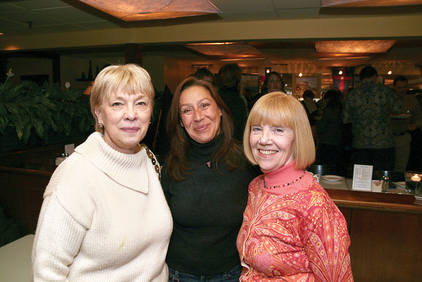 Marblehead:Ê All smiles at the party, from left, Joanne Lenandowski of Marblehead, Carol Vento of Peabody and Claire Hunt of Marblehead, former board member, at the Marblehead Festival of Arts Annual Logo Premiere Party, Tuesday, at the Landing Restaurant, Marblehead. Photo by Frank J. Leone, Jr.<br /> ÊÊÊÊÊÊÊÊÊÊÊÊÊÊÊÊÊÊÊÊÊÊÊÊÊÊÊÊÊÊ