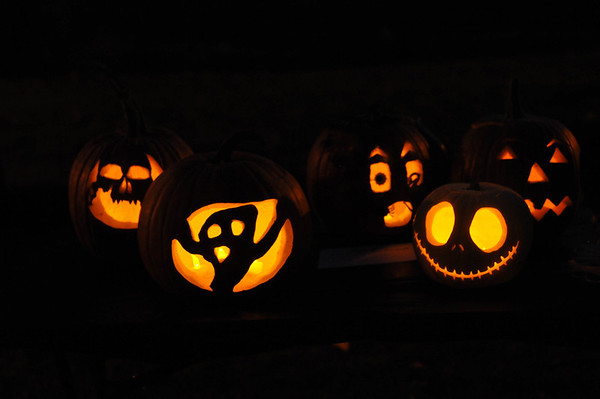 "Marblehead: Pumpkins line the tables for the annual ""Pumpkin Illumination,"" at the Lee Mansion. photo by Mark Teiwes"