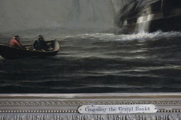 "Peter Williams Museum Services is working to restore Marblehead painting ""Crossing the Grand Banks"" by William Edward Norton. The painting dates from 1800s, and is being restored while its home, the selectman's meeting room at Abbot Hall, is renovated. photo by deborah parker/october 28, 2010"