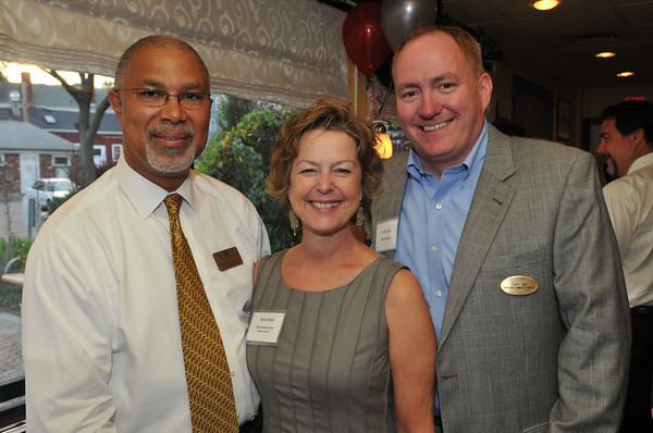 From left, Thomas Mac Donald, of the Hawthorne Hotel, Deborah Greel of the Marblehead Arts Association, and David Kay of MSA Mortgage and Marblehead Chamber of Commerce board member.  photo by Mark Teiwes / Salem News