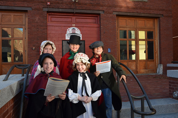 "Marblehead: First row from left, Lucia Beurer, 8, Harriet Langburd, 9; second row, Maddy Lowy, 8, Cameron Saltsman, 9, and Ben Hanna, 9, are members of Marblehead Little Theater dressed as characters from ""A Christmas Carol"". photo by Mark Teiwes / Salem News"