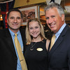 From left, Robert Simonelli, president of the Marblehead Chamber of Commerce and partner at The Landing Restaurant, Katherine Koch of the Chamber of Commerce and Tom McGee, state senator.  photo by Mark Teiwes / Salem News