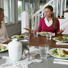 For enjoying a nutritious meal, Christine Lucas, center, talks to clients Nancy Simmons of Beverly, left, and Bonnie Garaventi of Marblehead.<br /> Photo by Deborah Parker/August 5, 2010