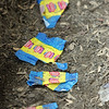 Bubble gum wrappers lay on the ground of a dug out at Gatchell's Park in Marblehead during a little league game between the Giants and the Blue Jays. Photo by Deborah Parker/June 17, 2010