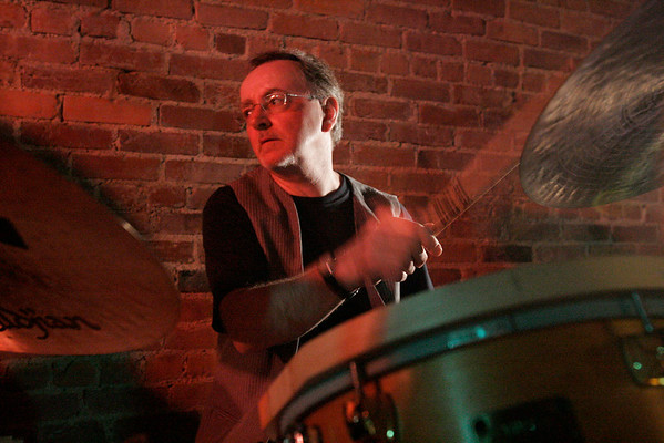 Dave Mattacks plays drums for a jazz band at Chianti's Restaurant in Beverly.