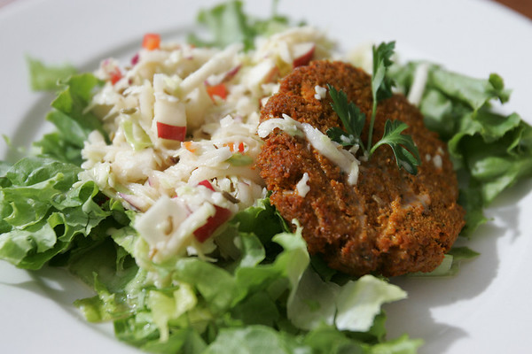 Lunch consisted of Lucas' recipe of Dehydrated Carrot-Pecan Burgers, and Kohlrabi Slaw over fresh summer lettuces,<br /> <br /> Photo by Deborah Parker/August 5, 2010