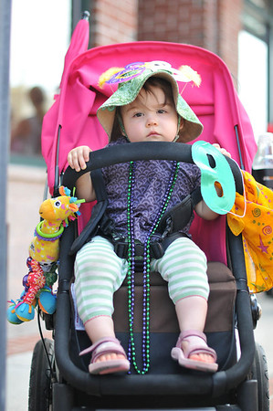 Marblehead: 15 month old Lila Schwartz of Marblehead is ready for the parade     photo by Mark Teiwes