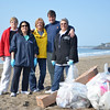 Marblehead: From left, Pat Martin, Alisa Moscone, Carol Nash, Christopher Swain, and Joan Sacco at Devereaux Beach for a  cleanup day.  Mark Teiwes / Salem News
