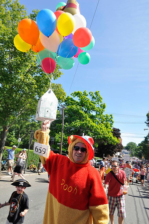 Marblehead: Adam Gilmore, MH marches as Winnie the Poo Marblehead Horrible's parade     photo by Mark Teiwes