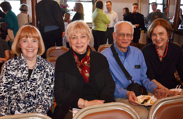 The Marblehead Festival of Arts annual Art Auction.   <br /> Pictured from left, Claire Hunt, Joanne Lewandowski, both from Marblehead, Mike Ers of Beverly, and Mary-Ann Fraser of Newton.