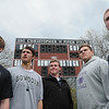 Marblehead:<br /> From left, Josh Freedland, Matt Perlow, Liam Gilliland, Ben Koopman, and Nick Broughton, stand in the Marblehead High School football field in front of the scoreboard.<br /> Photo by Ken Yuszkus/Salem News, Thursday, May 5, 2011.