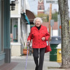 Marblehead: Marie Adams strolls on Atlantic Avenue. photo by Mark Teiwes