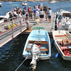 Marblehead:   The fisherman gather for a dock party after Saturday's fishing.  photo by Mark Teiwes