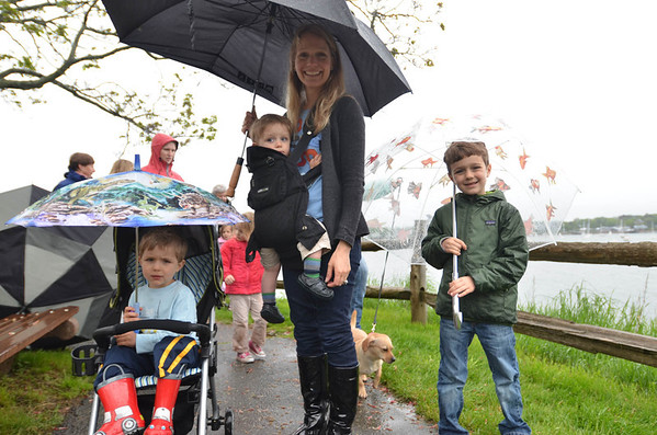From left, Samantha Rosato of Marblehead, with her kids from left, Leonardo 4, Matteo, 1, and Gianni, 7.