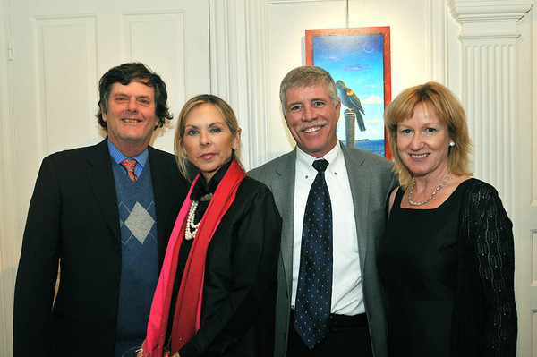 Marblehead: From left, Jerry and Nancy Blouin, John Davis, and Nancy Callahan, all from Marblehead.  The Artful Palate - Marblehead Arts Association fundraiser  photo by Mark Teiwes / Salem News