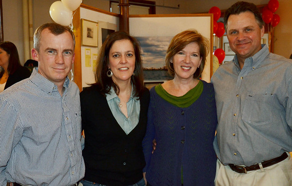 The Marblehead Festival of Arts annual Art Auction.   <br /> Pictured from left, Kevin Napaver, Andrea Papanek, Barbara Graves, and Ken Beaulieu, all from Marblehead.