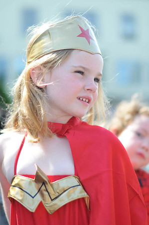 Marblehead: Kylie Donovan, 5, of Marblehead dressed as a super hero for the Horrible's parade     photo by Mark Teiwes