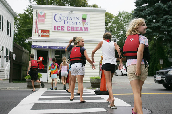 A group of kids, part of a summer sailling program at Eastern Yacht Club in Marblehead, celebrated the last day of the program with a boat trip to Captain Dusty's in Manchester by the Sea for some ice cream.