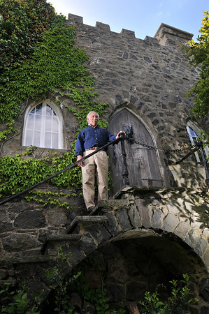 Marblehead: Michael Rubino stands outside his home, the Herreshoff Castle.  photo by Mark Teiwes / Salem News