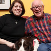 Marblehead: Jan and Noel Young at home with their dog Dougal. Photo by Liz Curtis