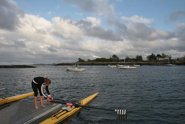 Marblehead: Emily Greten a member of Rock & Row Marblehead Rowing Club, prepares her boat.