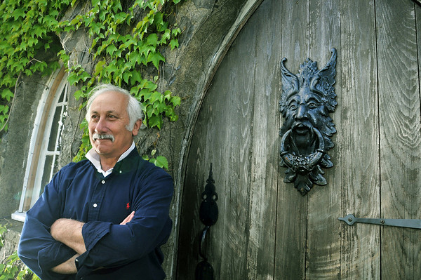 Marblehead: Michael Rubino the owner of the Herreshoff Castle Bed and Breakfast, stands by a door of his castle.  photo by Mark Teiwes / Salem News