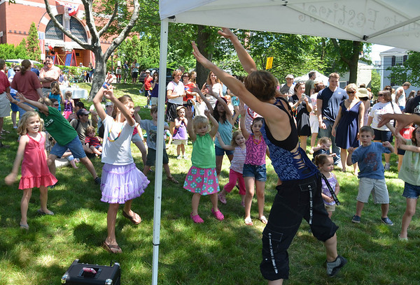 Jen Nicosia leads kids in Zumba at the Children's Festival at the Marblehead Festival of Arts.
