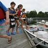 A group of kids, part of a summer sailling program at Eastern Yacht Club in Marblehead, celebrated the last day of the program with a boat trip to Captain Dusty's in Manchester by the Sea for some ice cream. From left, Ruthy Ehrhardt, Nils Skaane, Lydia Bogiorno and Tori Snow. Photo by Deborah Parker/July 23, 2010