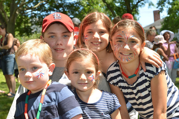 Children's Festival at the Marblehead Festival of Arts.<br /> Pictured from left: Dylan Brown, 3, and Nic, 13, Olivia, 4, Maddy, 8, and Ally Digiovanni, 10 all from Marblehead.