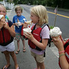 A group of kids, part of a summer sailling program at Eastern Yacht Club in Marblehead, celebrated the last day of the program with a boat trip to Captain Dusty's in Manchester by the Sea for some ice cream. From left, Tyler Lucbeck, Ruthy Ehrhardt, Brynn Burton and Elizabeth Ayer all enjoy their ice cream.