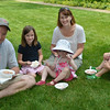 Old Fashioned Ice Cream Social in the Lee Mansion Garden. Pictured from left: Jeff, Kate, 7, Amanda, Annabelle, 2, and Sam Tucker, 5.