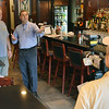 Chip Percy, left, owner of the Three Cod Tavern is interviewed by Robert Simonelli, owner of The Landing.