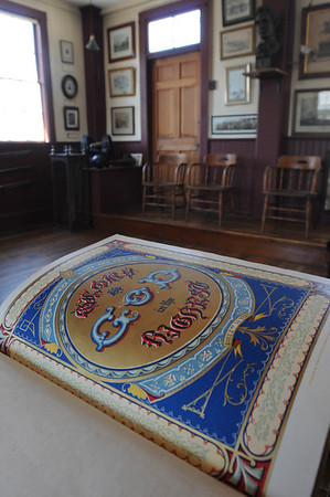 Marblehead:<br /> An illustrated page in the bible. The GAR Room, which was established by Civil War veterans and has been kept exactly as they left it when the last veteran died in the 1930s.<br /> Photo by Ken Yuszkus/Salem News, Friday, May 6, 2011.