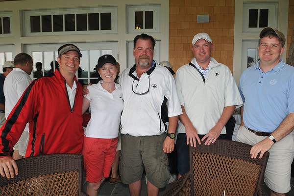 Marblehead: Pictured from left, Brian Williamson of Marblehead, Hallie Britton of Charlestown, Dave Cronin of Marblehead, Billy Breen of Port Washington NY, and Tom Walsh of Reading for the Paul Hannaway Memorial Golf Classic at the Tedesco Country Club.