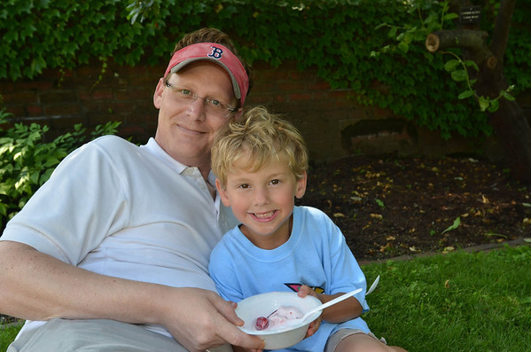 Old Fashioned Ice Cream Social in the Lee Mansion Garden. Pictured from left: Doug and Jake Barbour, 5.