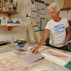 Marblehead:<br /> Bernice Hartnett, decorative painter, is in her studio.<br /> Photo by Ken Yuszkus/Salem News, Tuesday, August 16, 2011.