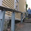 Marblehead:<br /> Bette Hunt walks the steps of Alley Steps. Bette Hunt checks out right of ways in Marblehead.<br /> Photo by Ken Yuszkus/Salem News, Thursday, June 17, 2010.
