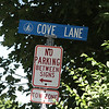 The sign at Cove Lane on Marblehead Neck. The image of a trekker indicates it is a right of way.