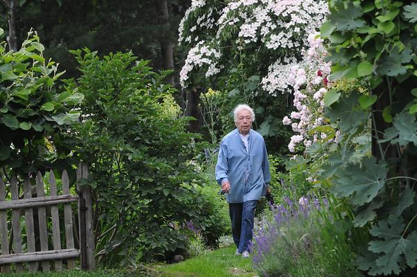 Marblehead:<br /> Bette Hunt walks Hollyhook Lane. Bette Hunt checks out right of ways in Marblehead.<br /> Photo by Ken Yuszkus/Salem News, Thursday, June 17, 2010.