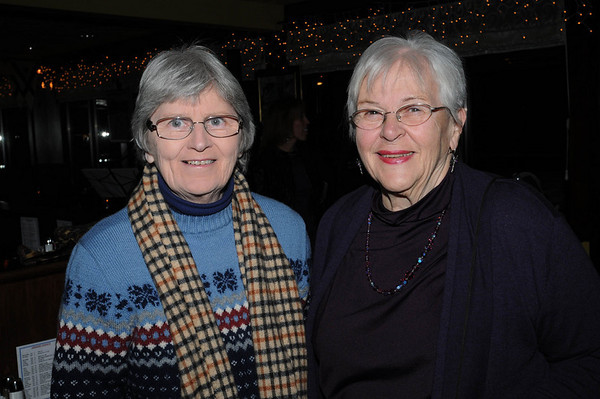 Marblehead:<br /> Peggy Farrell, left, and Barbara Rafferty, both of Marblehead, attend the Marblehead Festival of Arts Logo Premiere Party held at The Landing Restaurant on Tuesday January 25.<br /> Photo by Ken Yuszkus/Salem News, Tuesday, January 25, 2011.