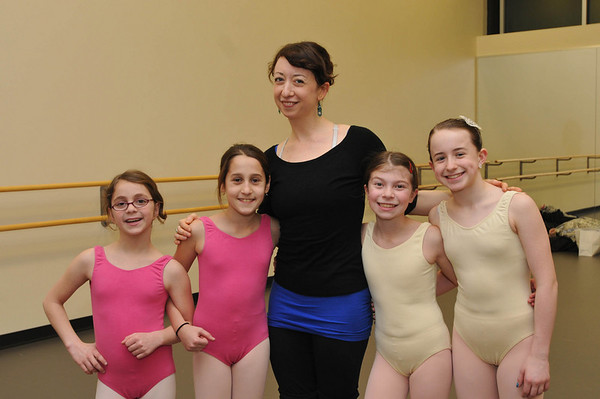 Marblehead: Out and About: Boston Ballet's Marblehead Studio celebrates its 2nd Anniversary on the North Shore, Modern dance class pictured from left, Rebecca Mitlin of Swampscott, 9, Mirian Gitelman of Marblehead, 10, Instructer Elizebeth Randall of Salem, Haley Lakind of Swampscott, 10, and Kaylin Thistle of Byfield.