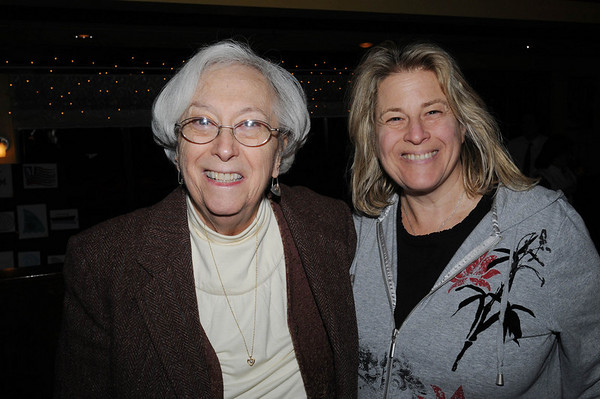 Marblehead:<br /> Marilyn Fishman, left, of Swampscott, formerly of Marblehead, and Helen Tieger, of Lynn, attend the Marblehead Festival of Arts Logo Premiere Party held at The Landing Restaurant on Tuesday January 25.<br /> Photo by Ken Yuszkus/Salem News, Tuesday, January 25, 2011.