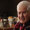 "Marblehead:<br /> Robert ""Bud"" Kilham, Marblehead resident who worked on the first supercomputer, the UNIVAC, after WWII, speaks about his life while at his home..<br /> <br /> Photo by Ken Yuszkus/Salem News, Tuesday, October 18, 2011."