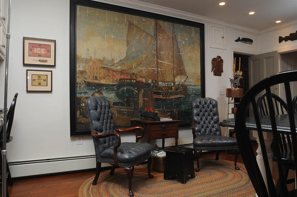 Marblehead:<br /> The painting by Arthur Kelley which is in the kitchen of the house at 147 Washington Street that was built in the mid-18th century. <br /> Photo by Ken Yuszkus/Salem News, Thursday, October 27, 2011.